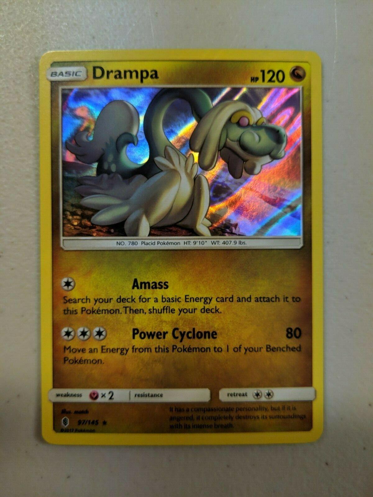 Guardians Rising RARE Rev Holo Pokemon DRAMPA 97//145 MINT