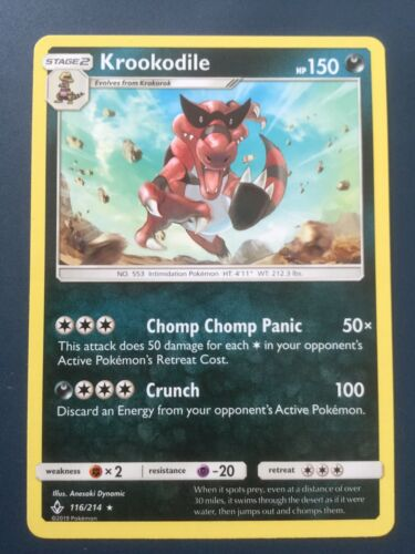 Krookodile - 116/214 - Pokemon TCG Sun & Moon Unbroken Bonds Cards Combined P+P