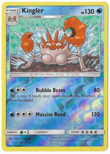 Kingler - 47/214 - M/NM - Rare Reverse Holo - Unbroken Bonds - Pokemon TCG