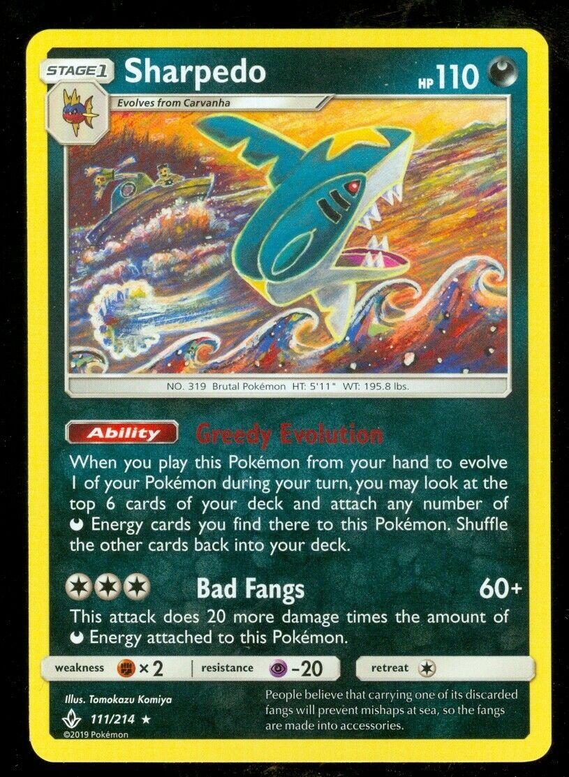 Pokemon SHARPEDO 111/214 Unbroken Bonds RARE - - MINT - Image 1