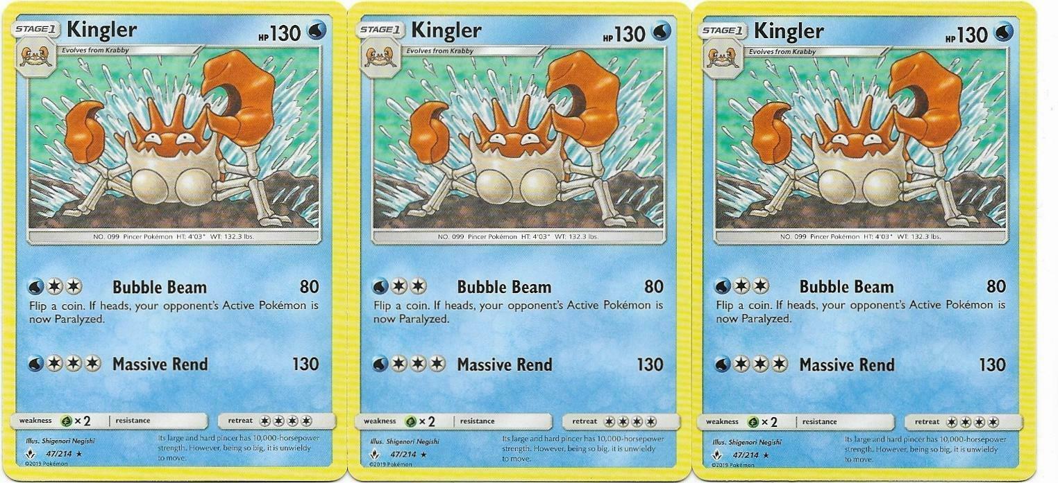 Pokemon CCG: *3x KINGLER* - 47/214 Sun & Moon: Unbroken Bonds
