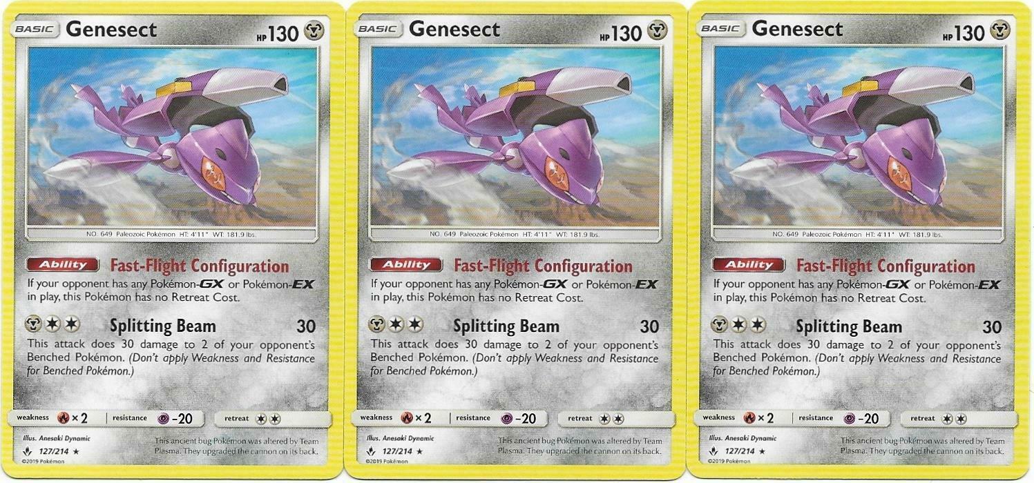 Pokemon CCG: *3x GENESECT* - 127/214 Sun & Moon: Unbroken Bonds
