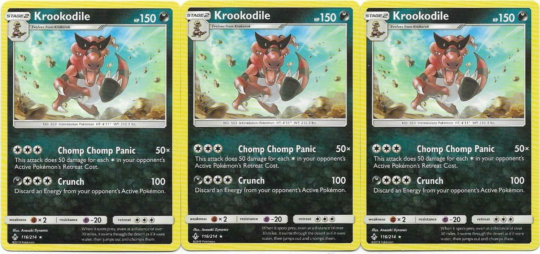 Pokemon CCG: *3x KROOKODILE* - 116/214 Sun & Moon: Unbroken Bonds - Image 1