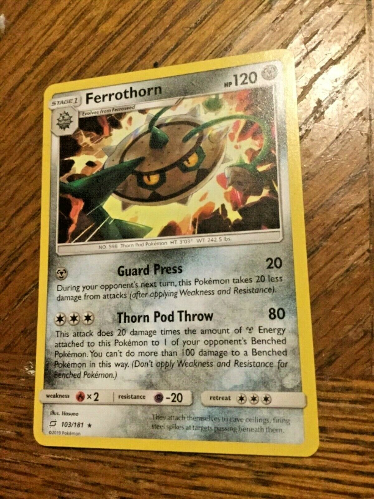 Pokemon Rare Ferrothorn Team Up # 103/181 Near Mint