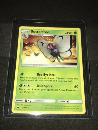 Butterfree 3//147 Reverse Holo ~ Pokemon S/&M Burning Shadows ~ Pack Fresh