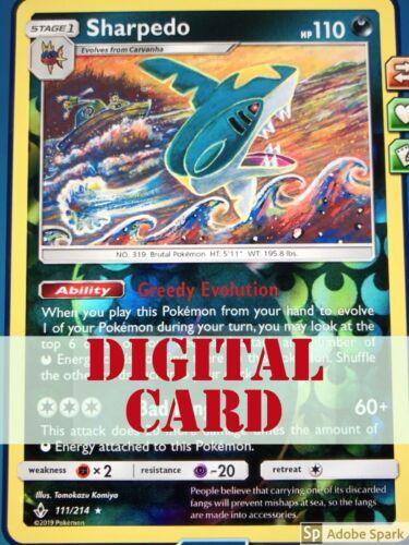 New DIGITAL CARD ONLY! Pokemon Sharpedo 111/214 Rare Reverse Holo for PTCGO!