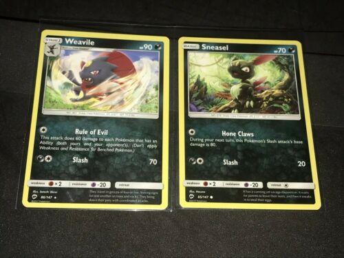Pokémon Sneasel 85/147 & Weavile 86/147 RARE Pokemon S&M Burning Shadows