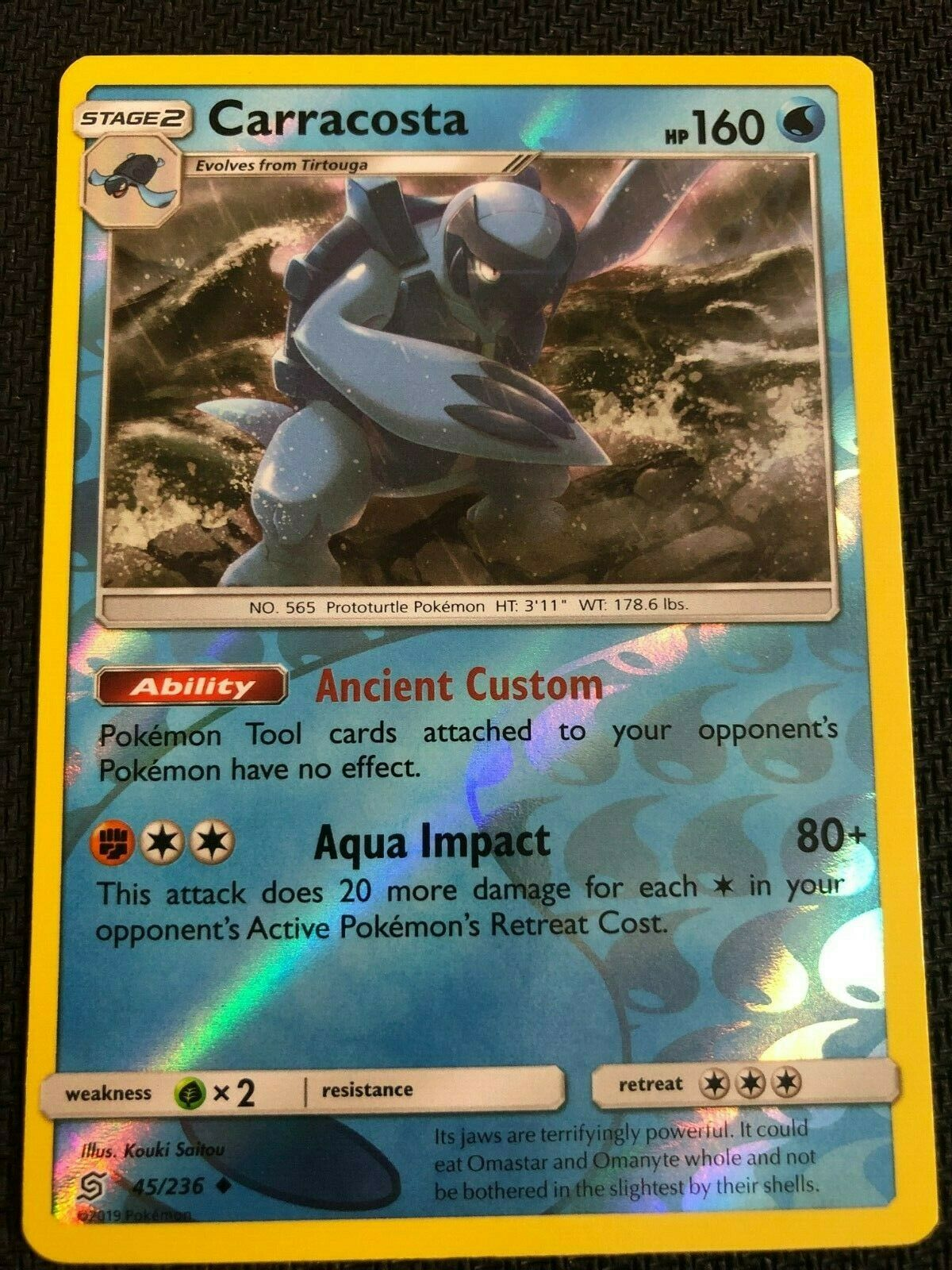 POKEMON  CARRACOSTA 45//236 UNCOMMON REVERSE HOLOFOIL NM CARD  UNIFIED MINDS
