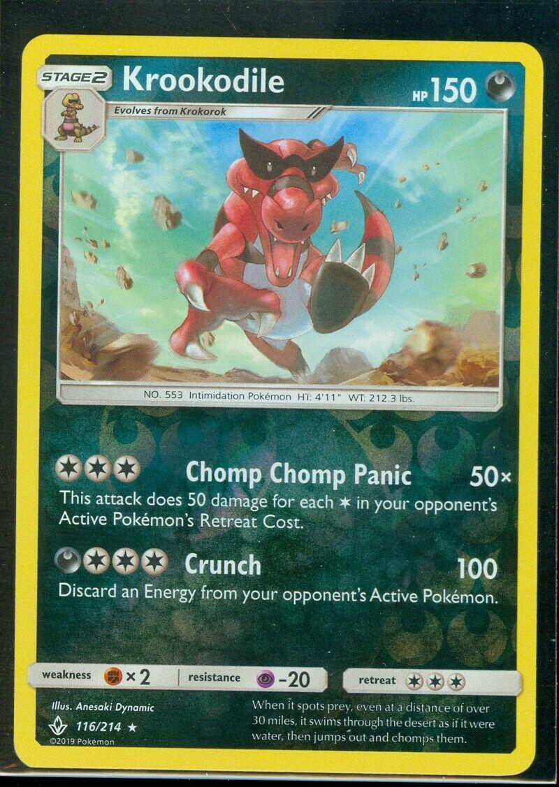 Pokemon KROOKODILE 116/214 Unbroken Bonds RARE Rev Holo - MINT