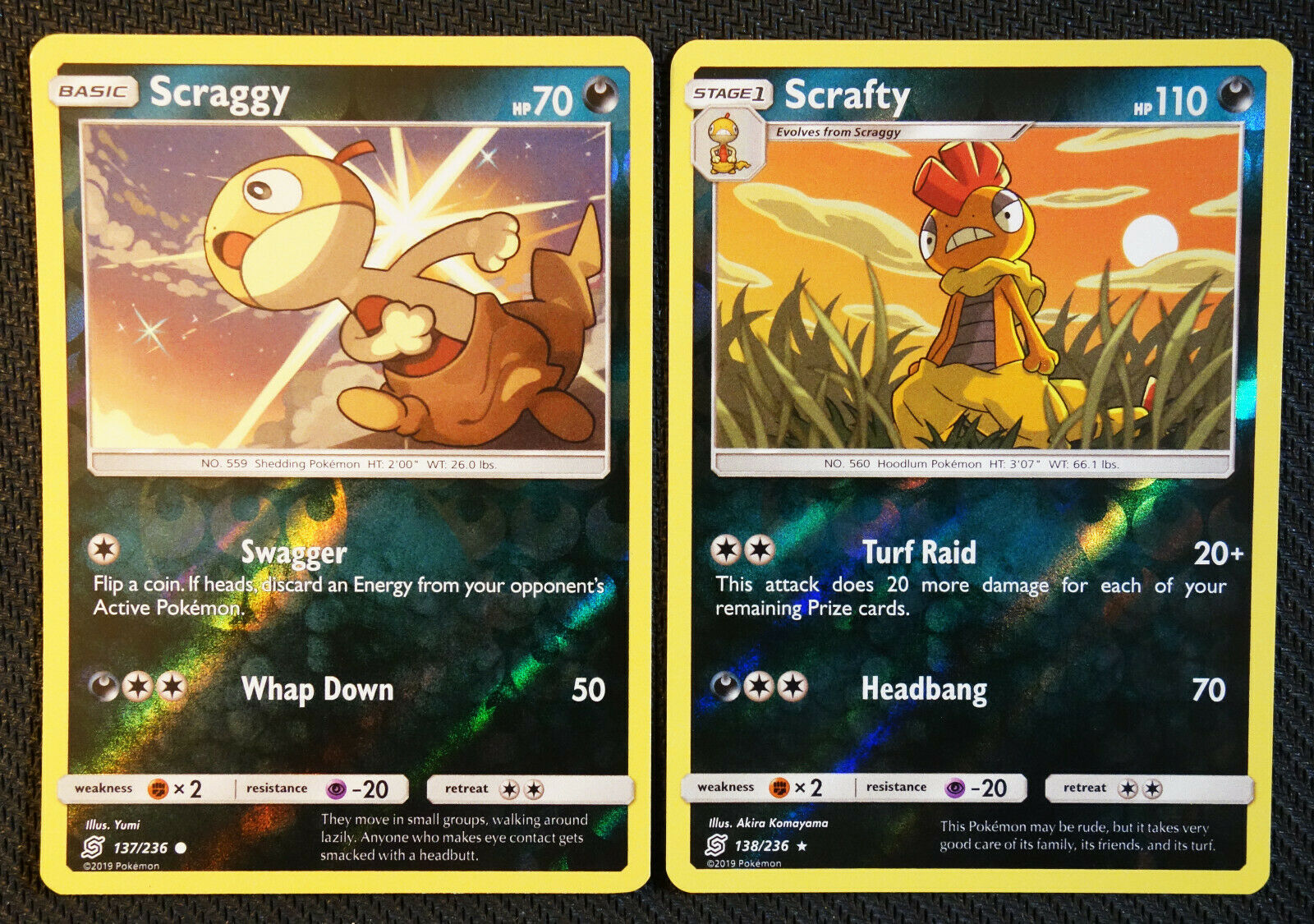 Pokemon Cards Scraggy 137 Scrafty 138/236 Reverse Holo Unified Minds NM/M