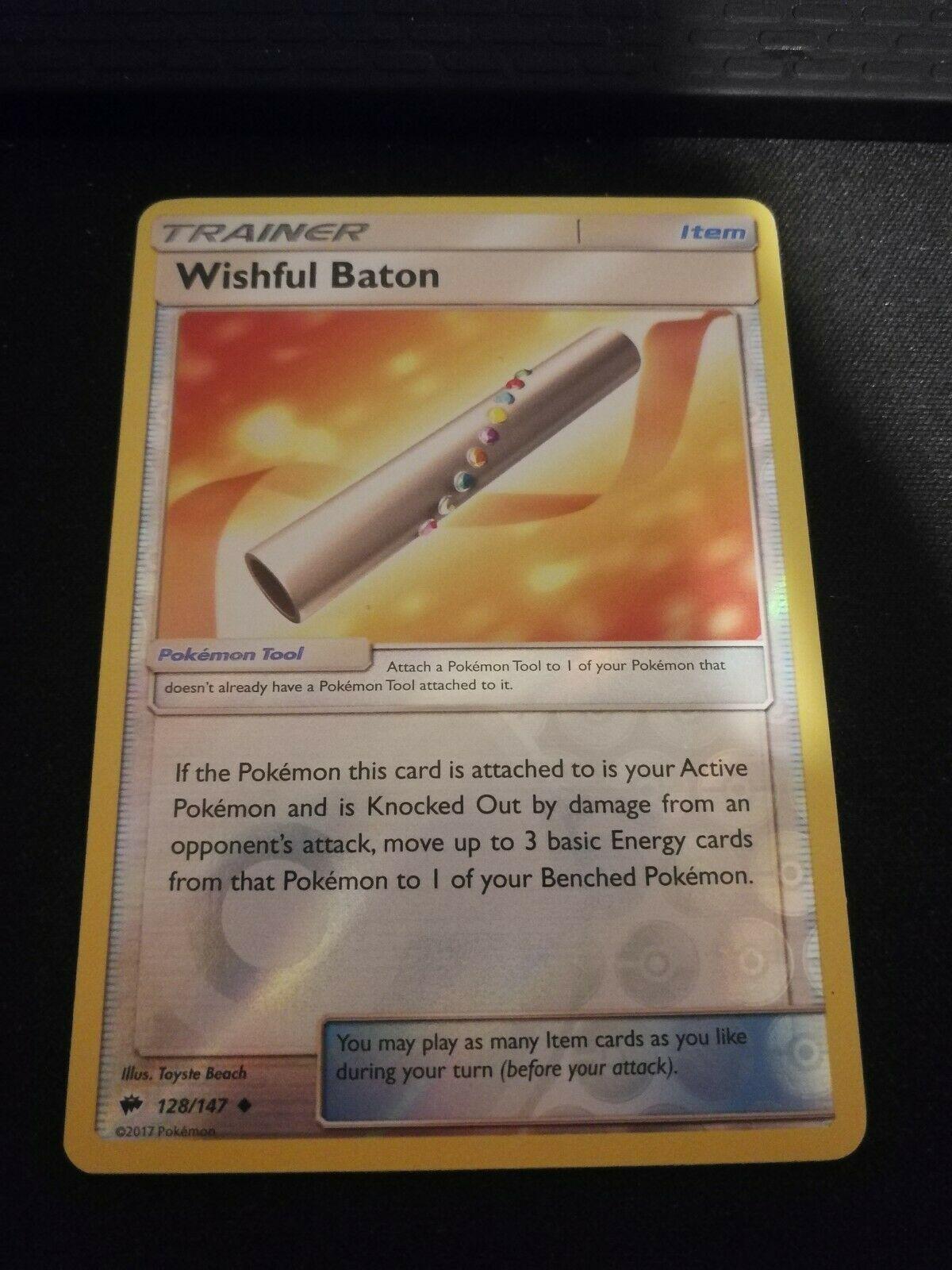 SM BURNING SHADOWS WISHFUL BATON 128//147 UNCOMMON REVERSE Pokemon