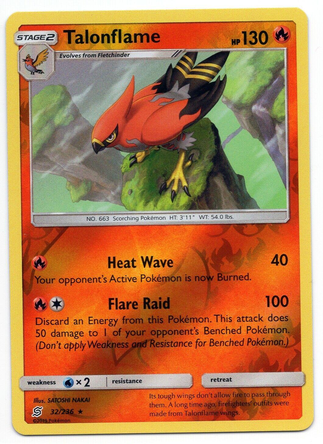 Talonflame 32/236 - Reverse Holo Rare - Pokemon Sun & Moon - Unified Minds