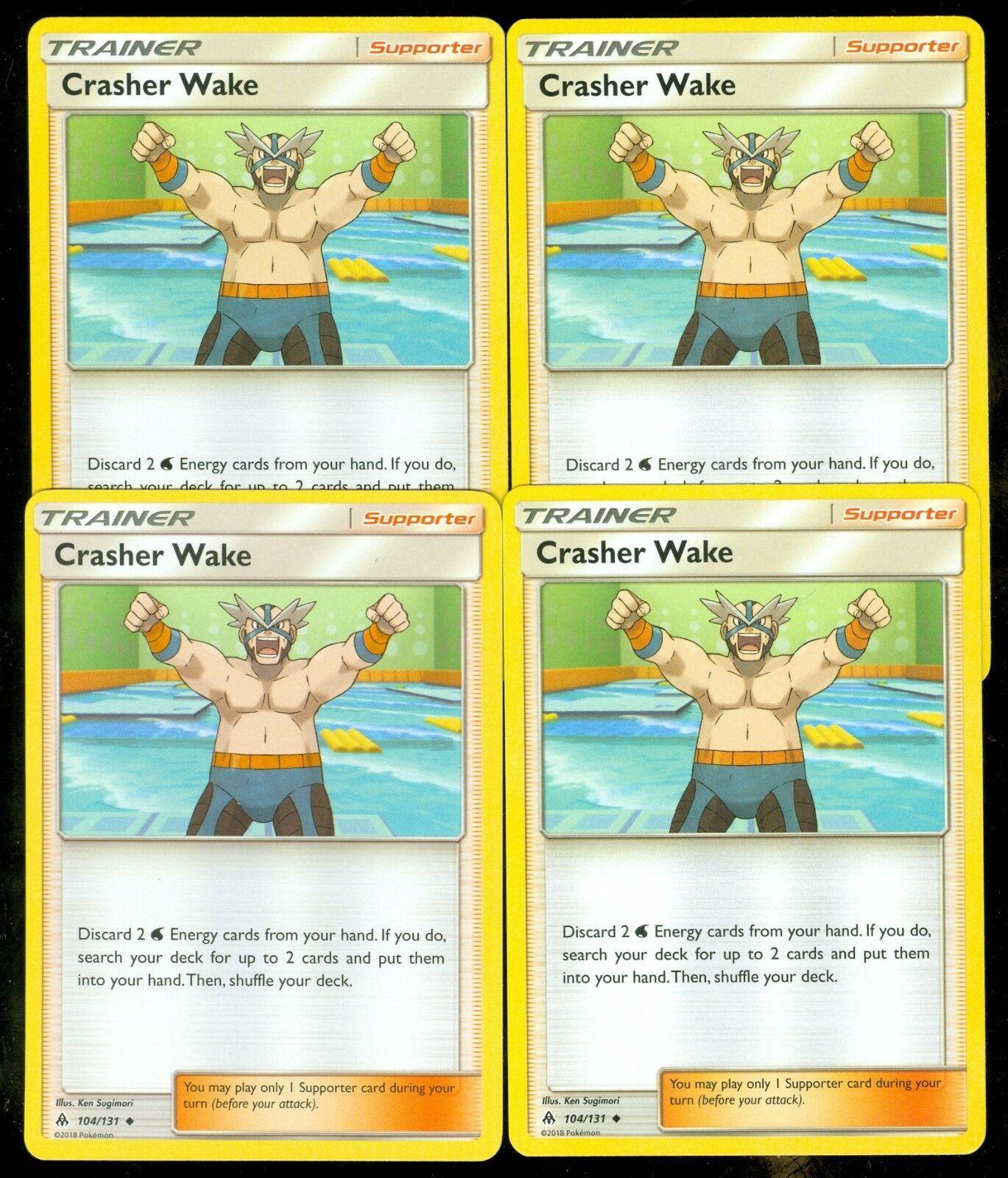 4X Crasher Wake 104//131 Forbidden Light Pokemon TCG Online Digital Card