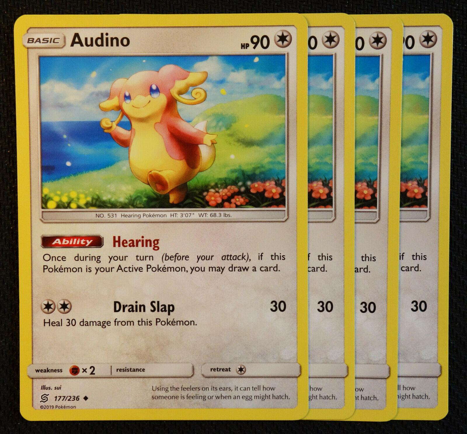 Audino #177//236 Sun /& Moon Unified Minds Uncommon Pokemon 2019 TCG Card