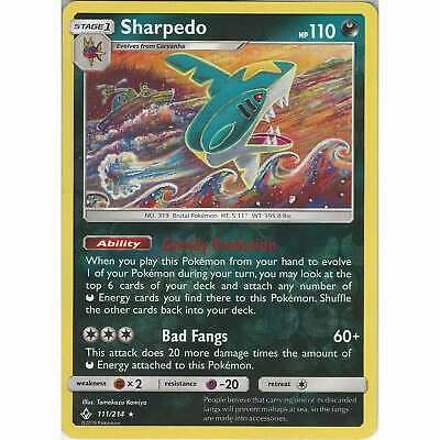 Sharpedo - 111/214 - Rare Reverse Holo Card - Pokemon TCG SM10 Unbroken Bonds
