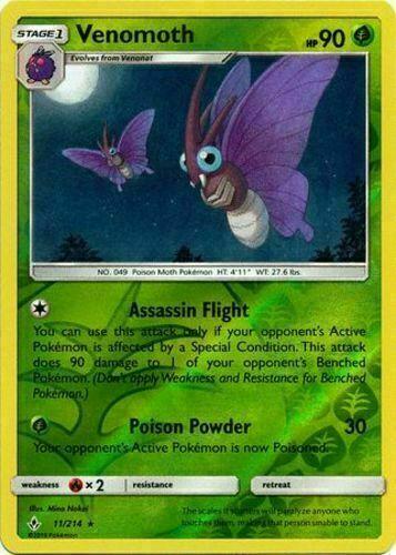 Pokemon TCG Venomoth 11/214 Sun & Moon Unbroken Bonds Rare REVERSE HOLO NM/M