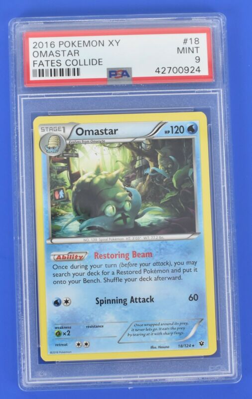 2016 Pokemon XY 18/124 Omastar Fates Collide PSA 9 Box #12
