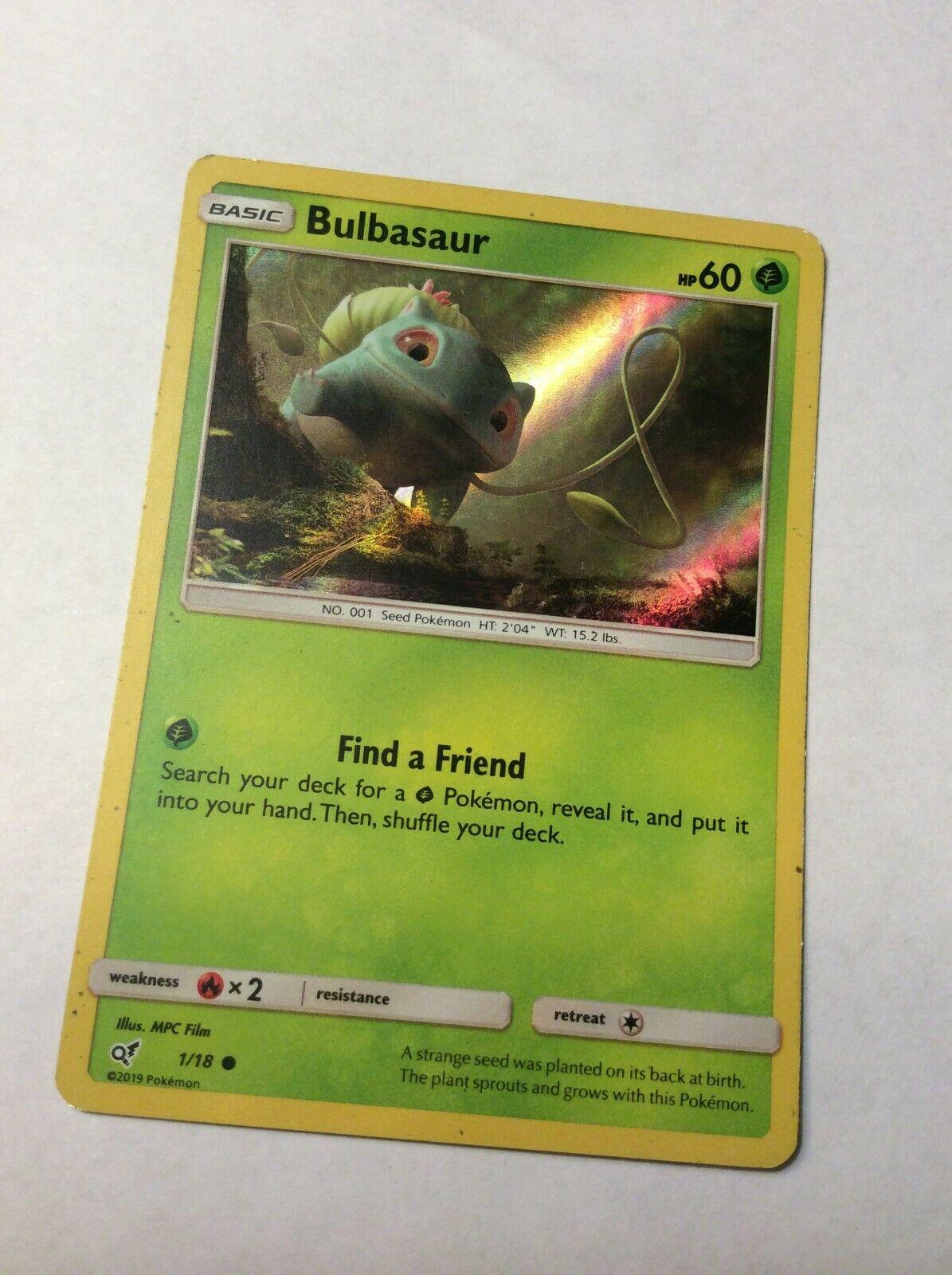 Pokemon Detective Pikachu 1//18 Bulbasaur Holo Individual Single Card