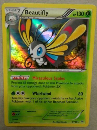 Beautifly 5//108   X/&Y Roaring Skies  Rare Holo   NM//Mint Pokemon