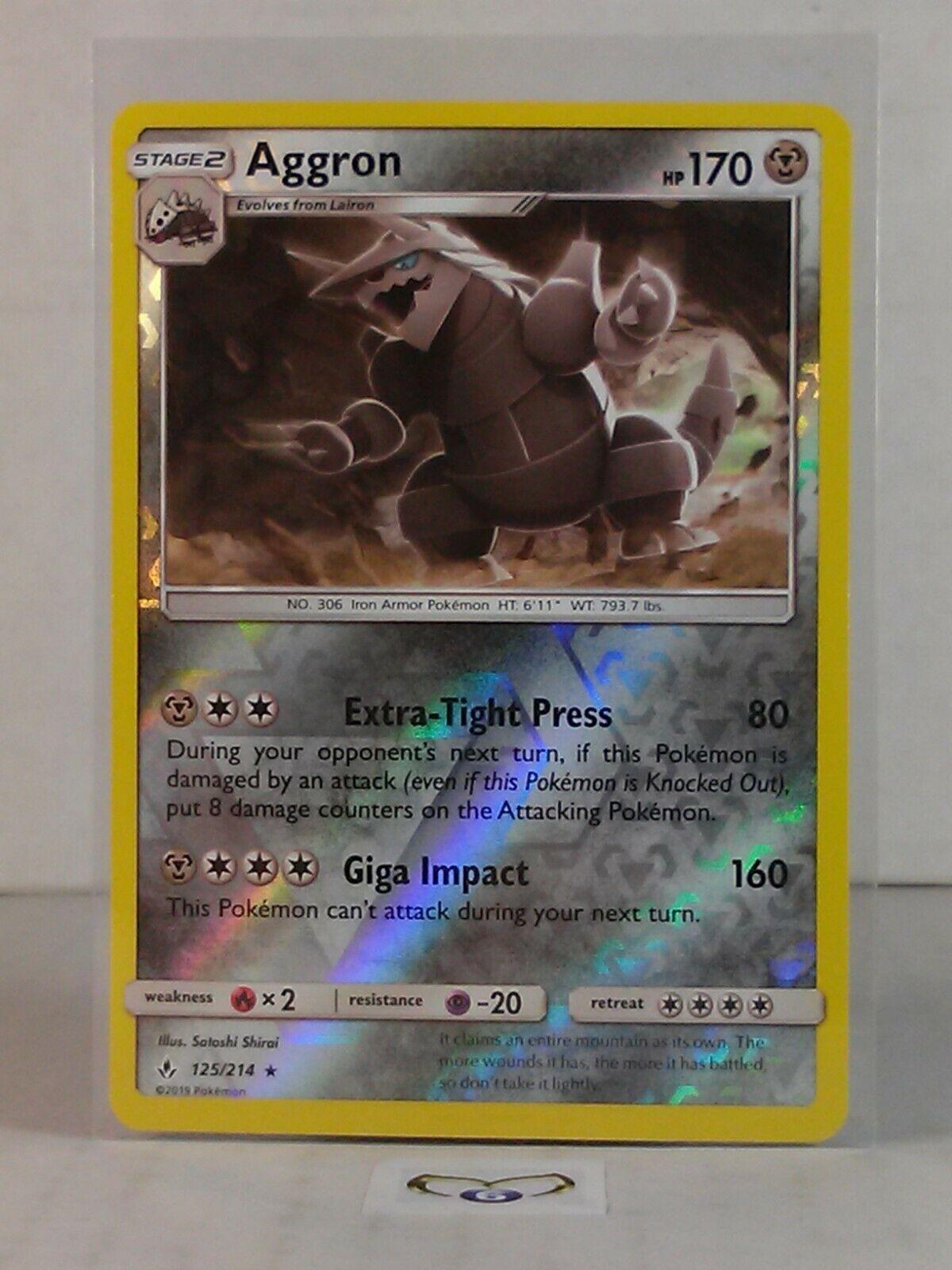 Aggron  125/214  Sun & Moon: Unbroken Bonds  Reverse Holo  Mint/NM  Pokemon