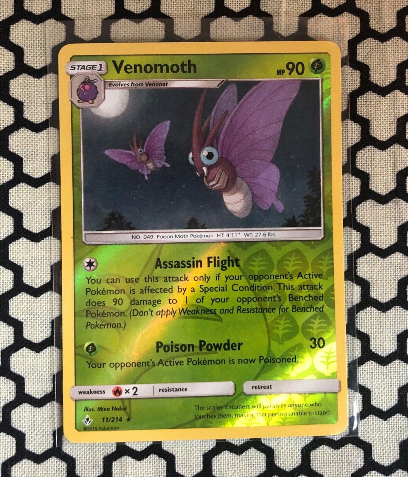 Venomoth - Unbroken Bonds 11/214 - Reverse Holo Rare Mint/NM - Pokemon