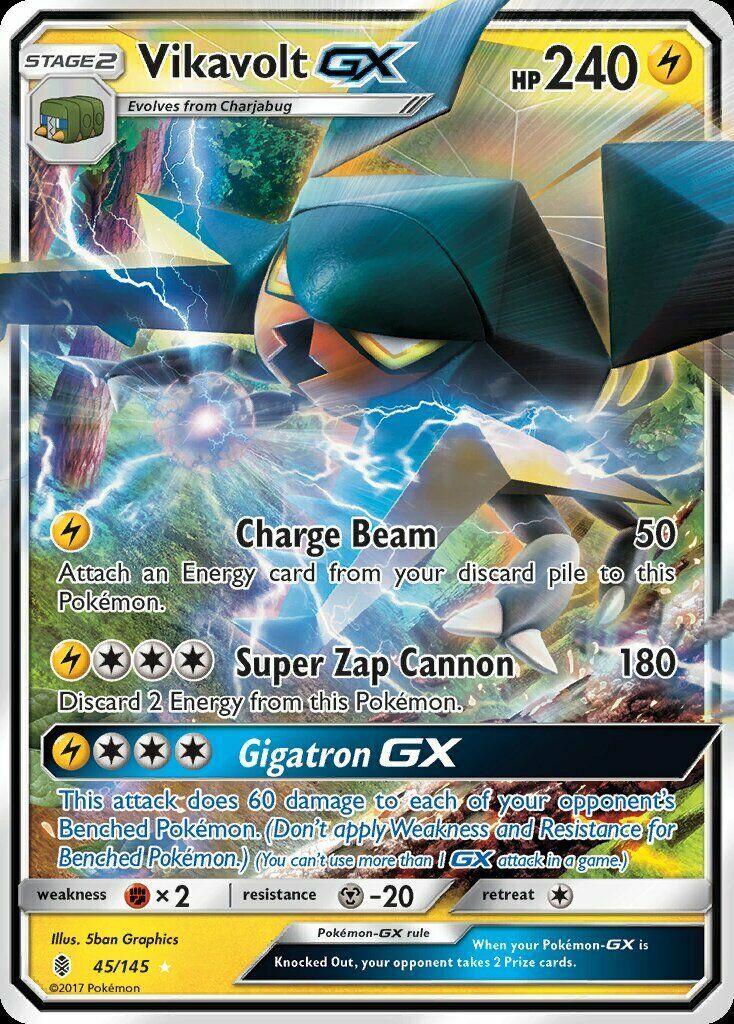 Pokemon TCG Guardians Rising Vikavolt GX 45//145 PSA 10
