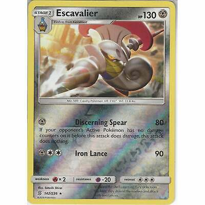 142/236 Escavalier   Rare Reverse Holo   Pokemon Trading Card Game Unified Minds