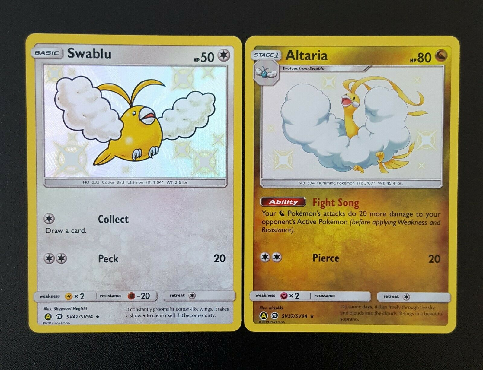 Pokemon Hidden Fates SV42//SV94 Shiny Rare M//NM Swablu