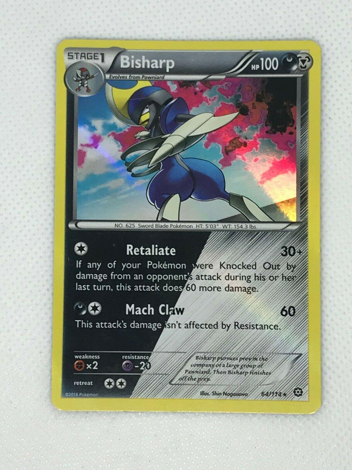 Pokemon BISHARP 64//114 RARE HOLOFOIL MINT CARD   STEAM SIEGE