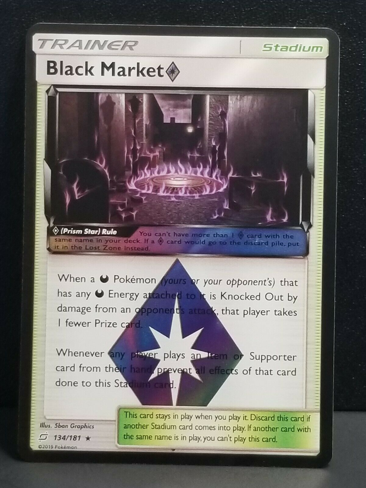 Black MarketPrism Star 134//181 Rare Holo Team Up Mint Pokemon Card