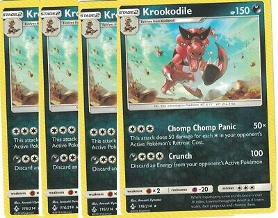 4x Krookodile116/214Rare- Pokemon Unbroken Bonds