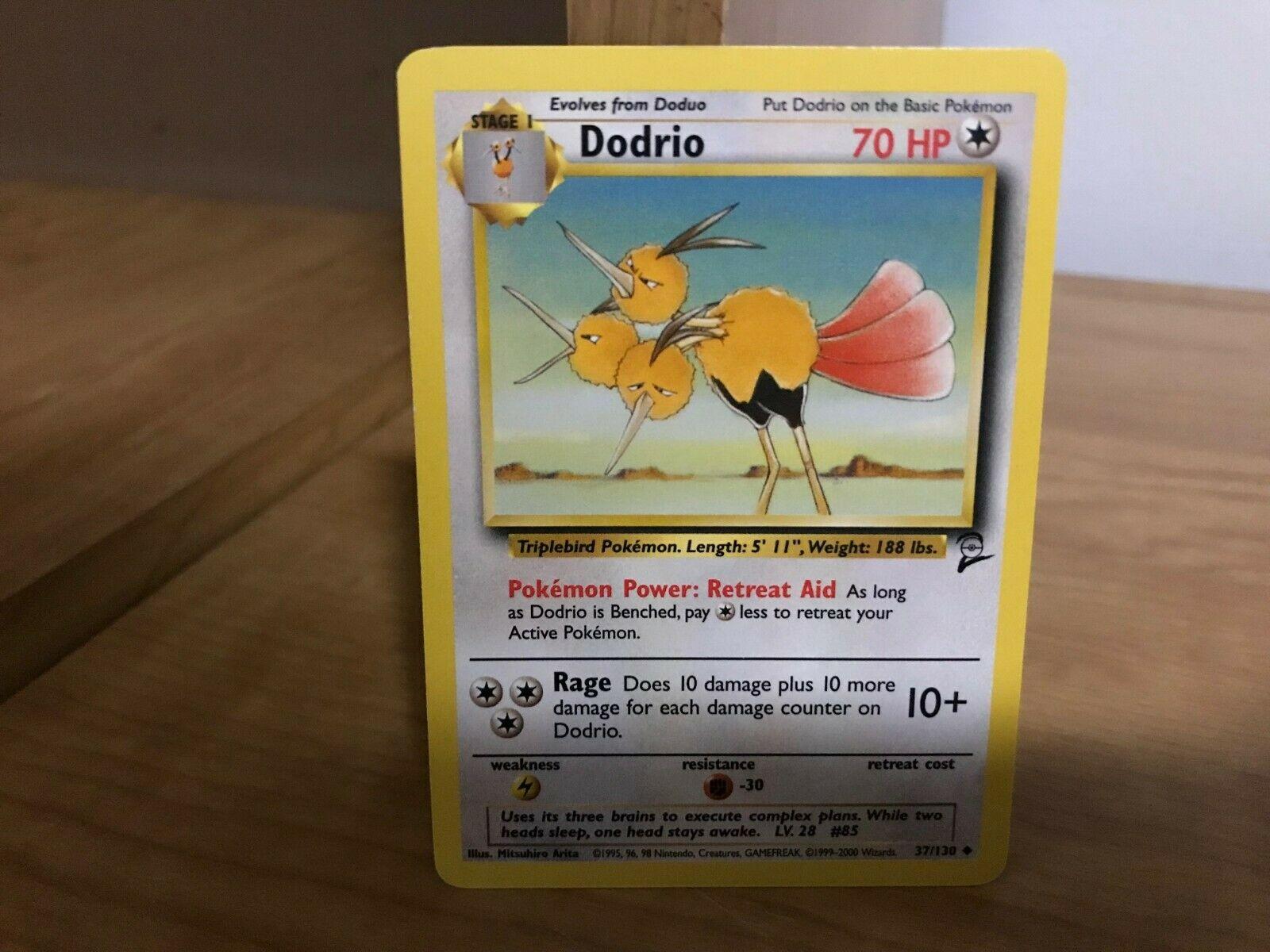 Never Played Pokemon Base 2 Dodrio Uncommon 37//130 Near Mint WOTC TCG