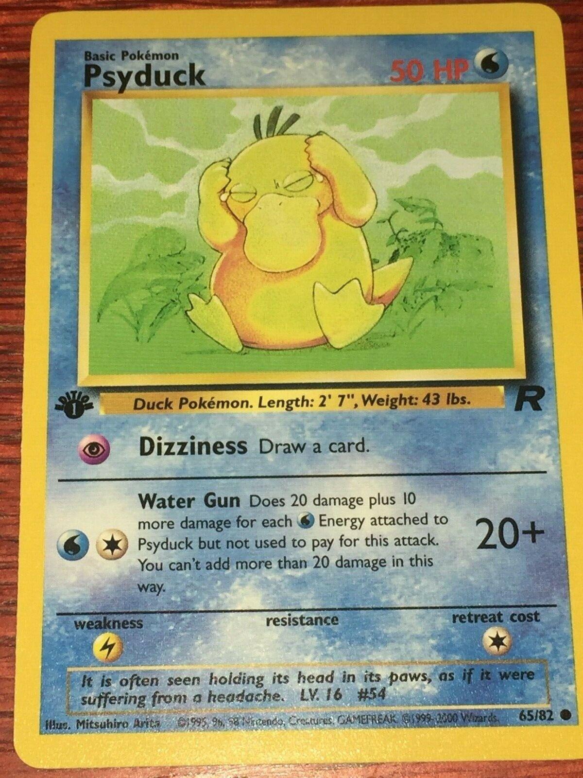 Pokemon Team Rocket Common Card #65//82 Psyduck