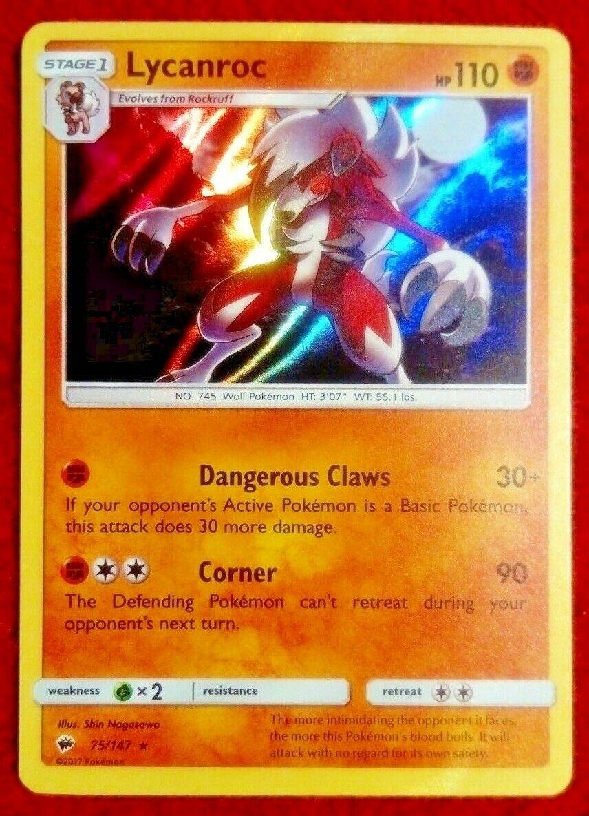 Burning Shadows Holo Rare  Mint//NM   Pokemon Lycanroc 75//147 Sun /& Moon