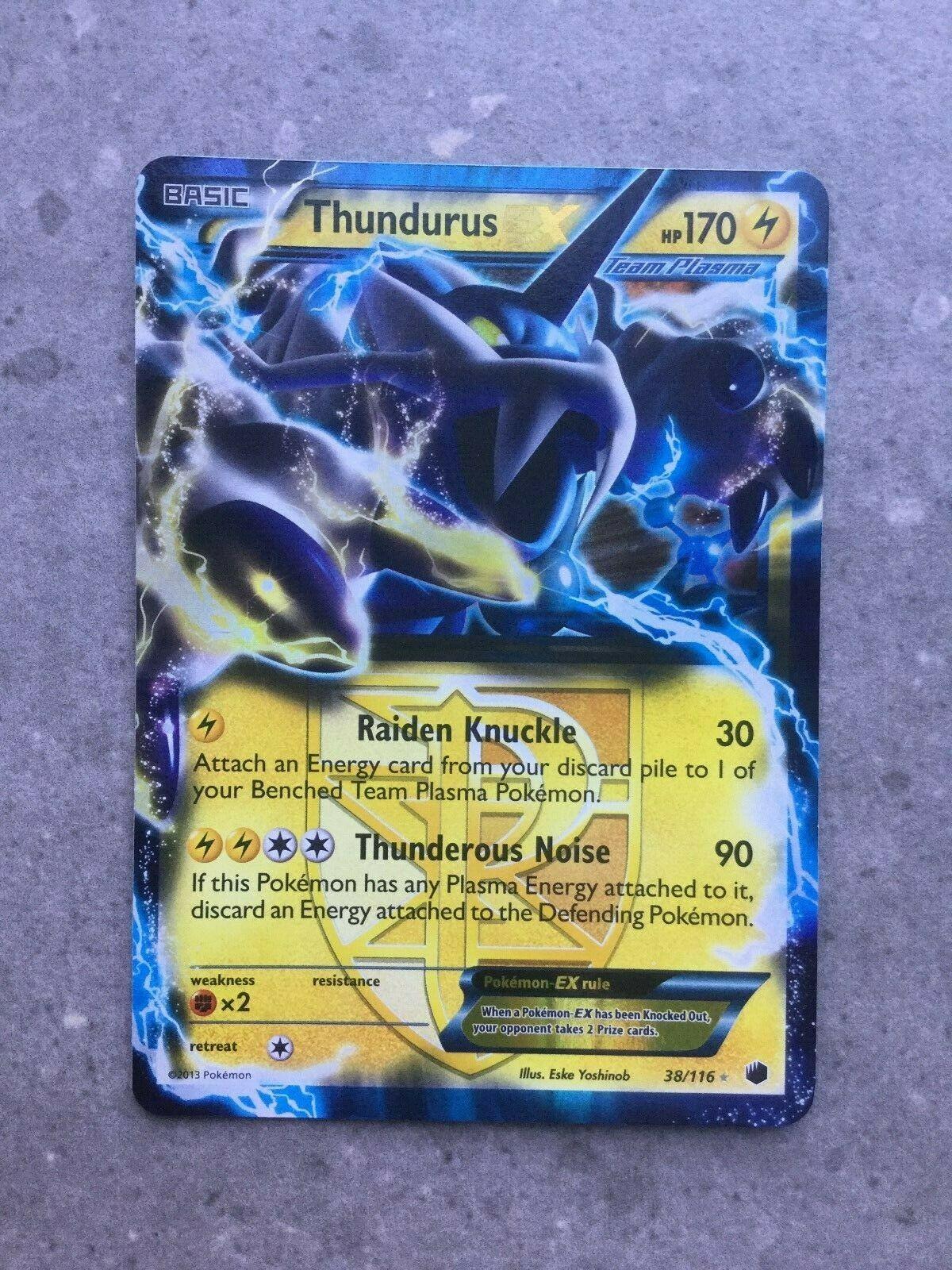 38//116 Thundurus-EX Light Play Pokemon Rare Holo EX