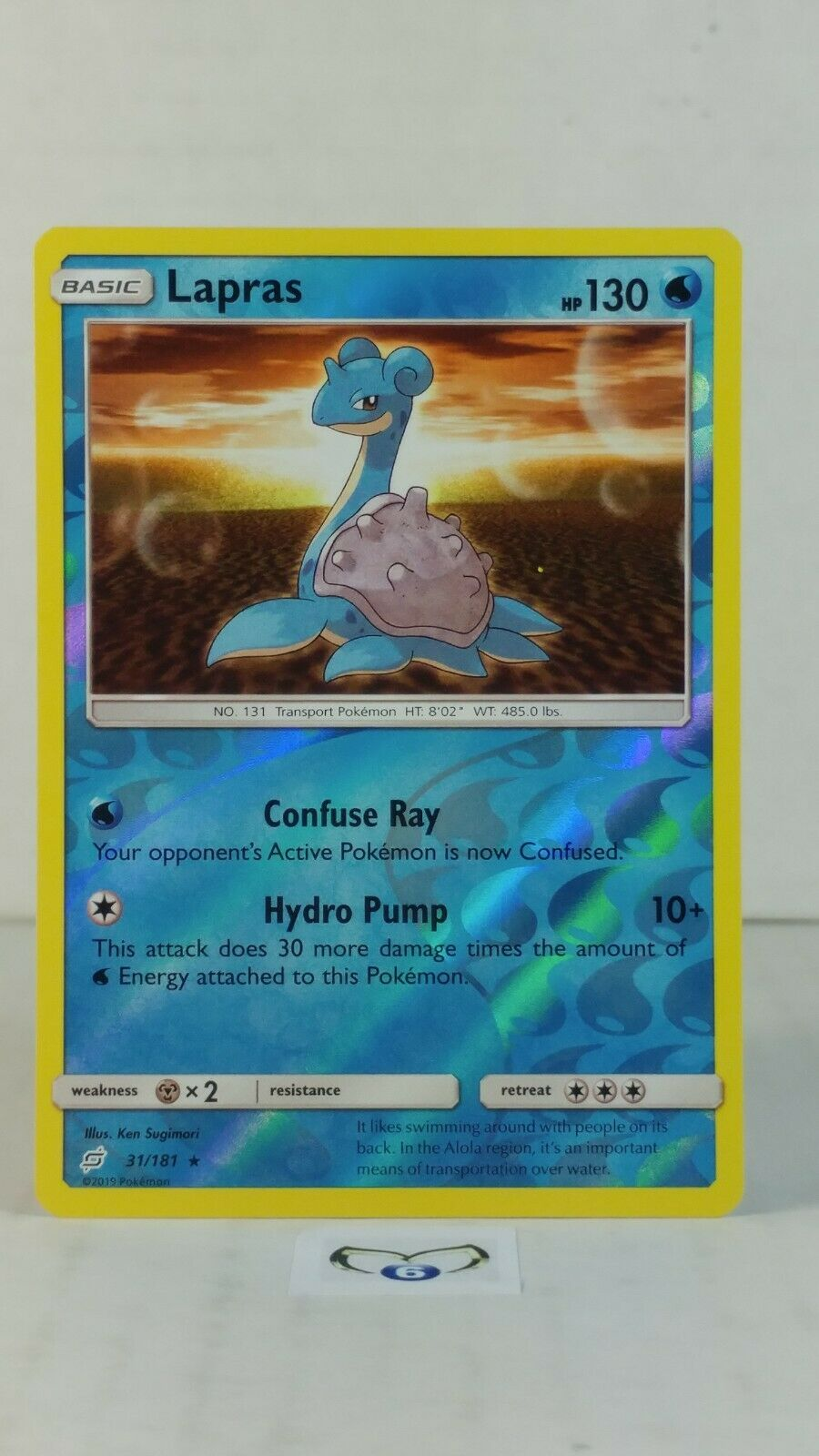 Lapras 31/181  SM: Team Up  Reverse Holo Mint/NM Pokemon - Image 1