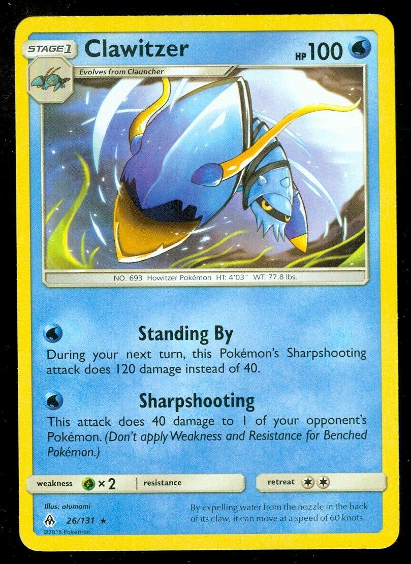 Pokemon 4X CLAWITZER 26//131 RARE NM CARD   FORBIDDEN LIGHT