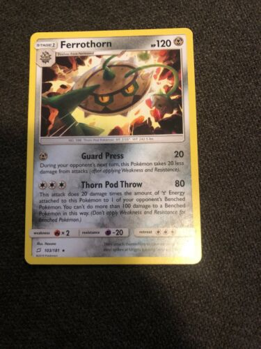1x - Ferrothorn - 103/181 - Rare NM Pokemon Sun & Moon - Team Up