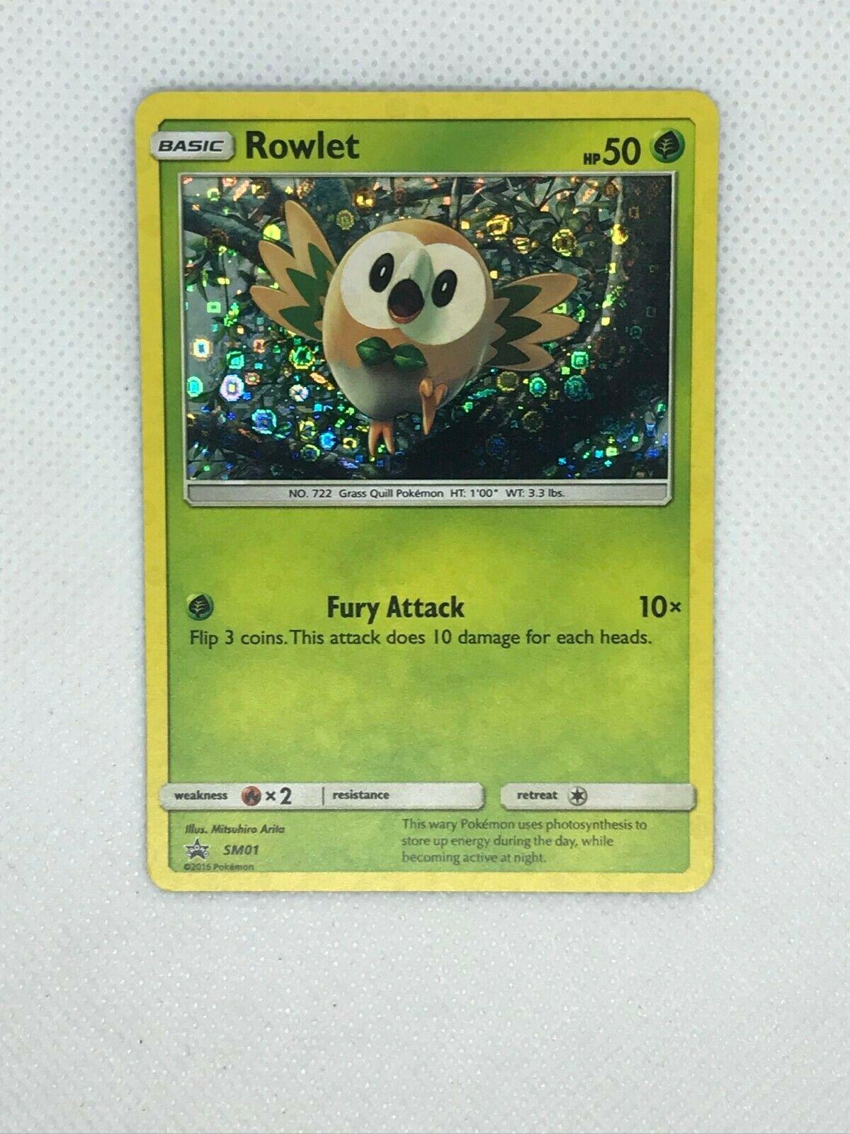 SM01 - SM Black Star Promo NM Pokemon Pokemon P Rowlet 1x Cereal Box Promo
