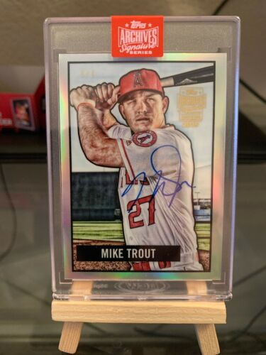 2019 Topps Archives 1/1 On Card Auto Chrome Mike Trout - Image 1