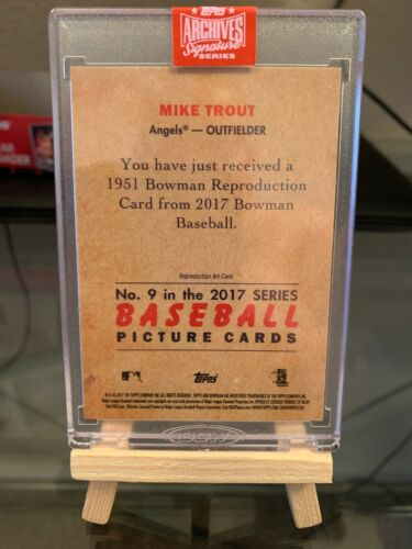 2019 Topps Archives 1/1 On Card Auto Chrome Mike Trout - Image 2