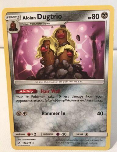New ALOLAN DUGTRIO 122/214 Rare NonHolo Unbroken Bonds Pokémon Card Mint