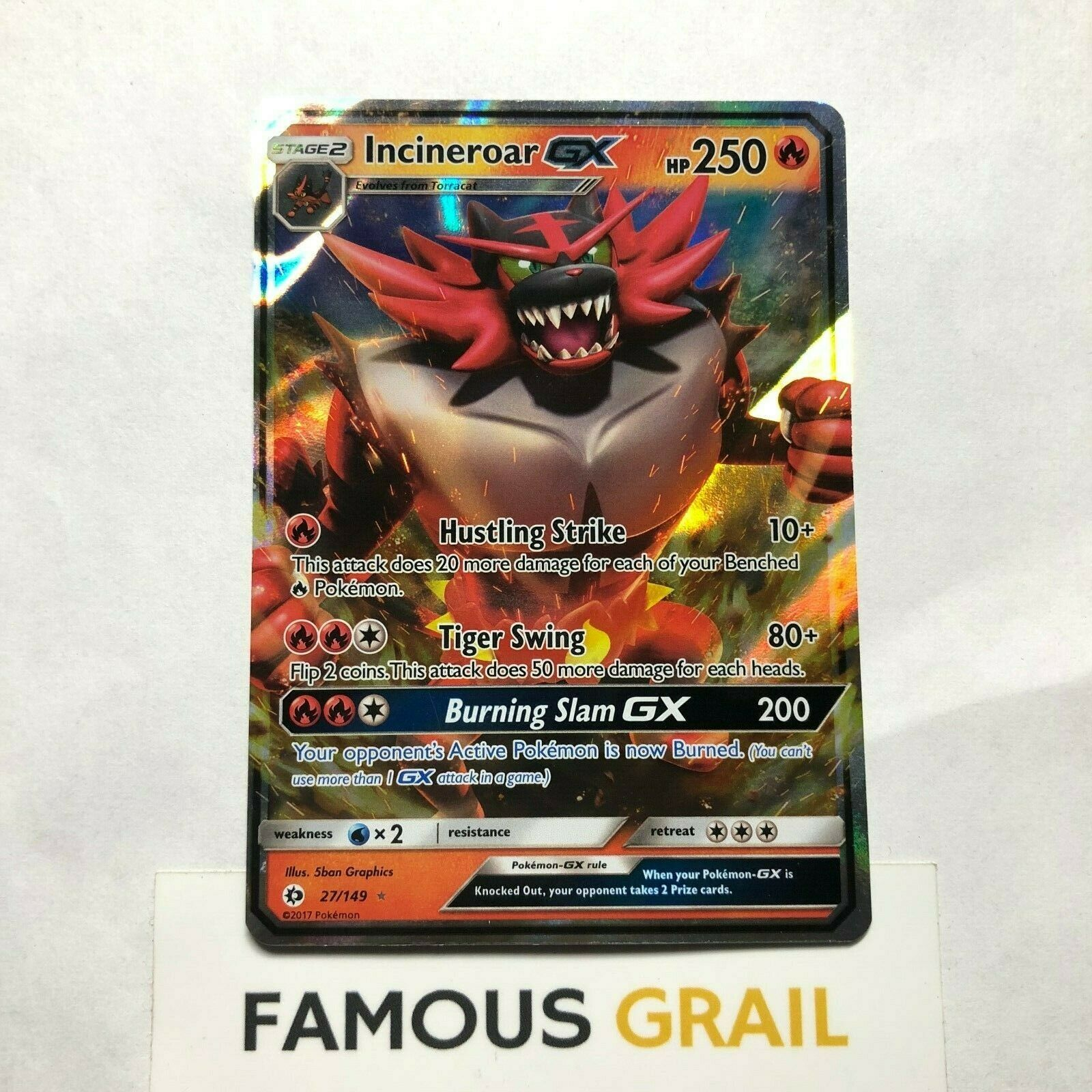 Incineroar GX Ultra Rare 27 Pokémon TCG SM Base Set