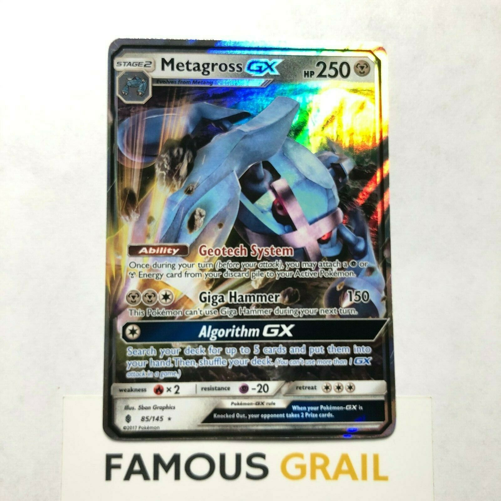 NM Pokemon METAGROSS GX Card GUARDIANS RISING Set 85//145 Sun Moon Ultra Rare TCG