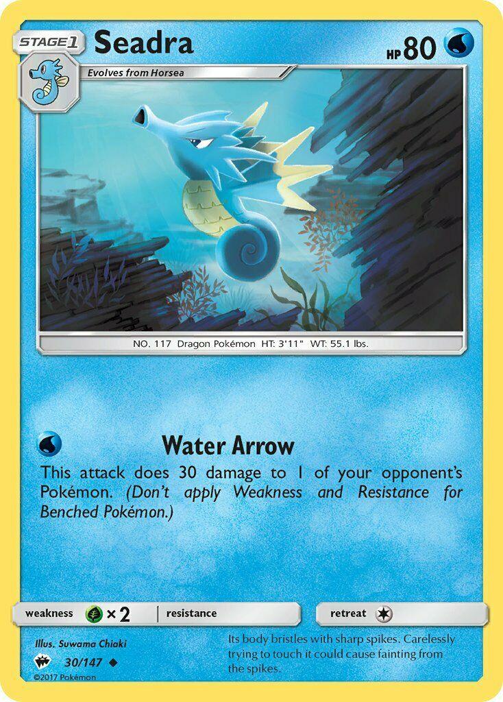 Seadra Reverse Holo 30//147 Burning Shadows M//NM Pokemon TCG Card