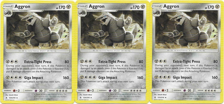 Pokemon CCG: *3x AGGRON* - 125/214 Sun & Moon: Unbroken Bonds