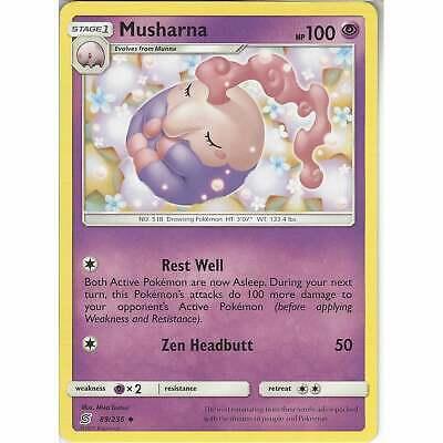 2019 Unified Minds Set - NM Uncommon Pokemon Card Musharna 89//236