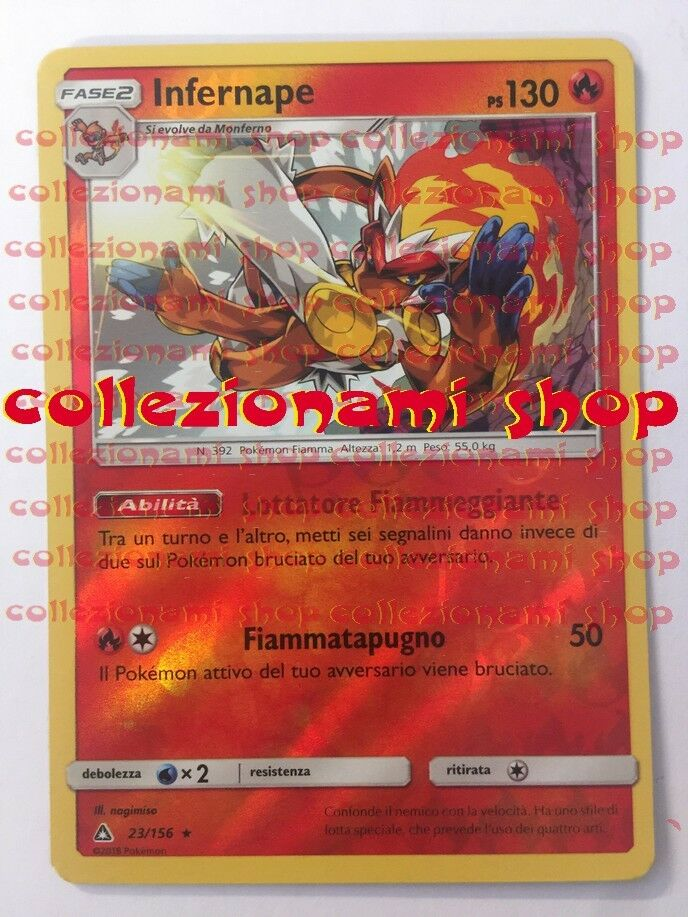 23/156Infernape - REVERSE HOLO - Ultra Prisma - POKEMON ITALIANO