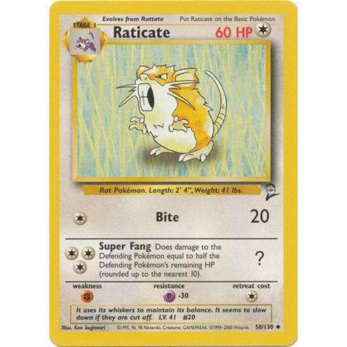 Pokemon Base Set 2 Uncommon Card #58//130 Raticate