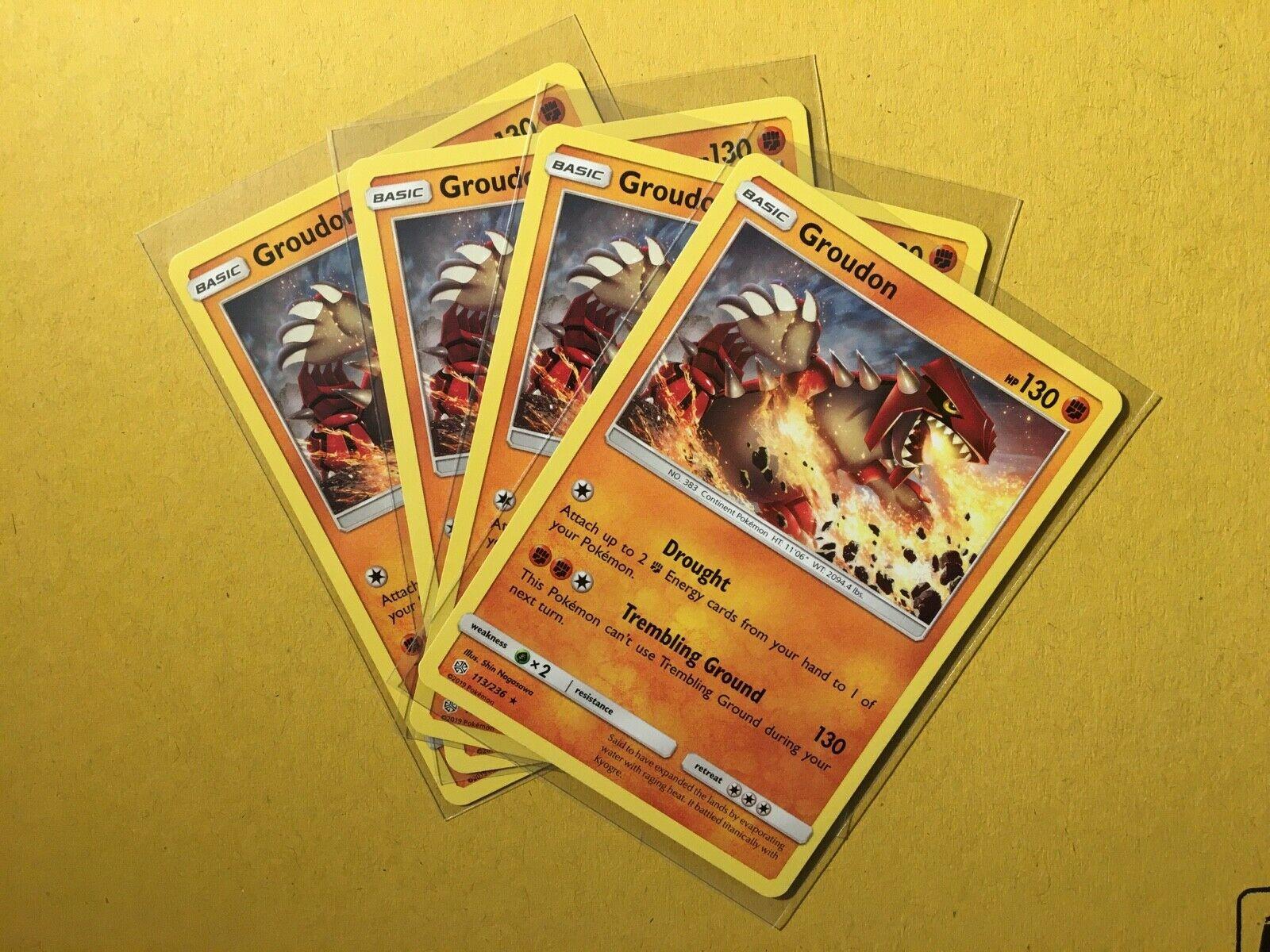 4x Groudon Cosmic Eclipse Rare Reverse Holo NM-Mint Pokemon SM12 113//236